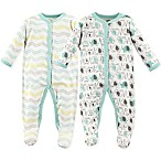 Luvable Friends® Elephants Size 6-9M 2-Pack Snap-Front Sleep and Play Sleepers in Grey