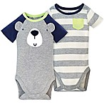 Gerber® Size 6-9M 2-Pack Bear Short Sleeve Bodysuits in Grey