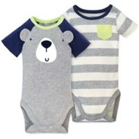 Gerber® Size 24M 2-Pack Bear Short Sleeve Bodysuits in Grey