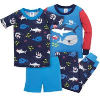 Gerber® Size 24M 4-Piece Shark Pajama Set in Blue