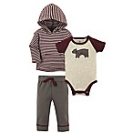 Yoga Sprout Fearless Size 0-3M 3-Piece Hoodie, Bodysuit, and Pant Set in Grey
