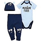 Gerber® Size 0-3M 3-Piece Monster Bodysuit, Pant, and Cap Set in Blue
