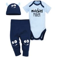 Gerber® Size 12M 3-Piece Monster Bodysuit, Pant, and Cap Set in Blue