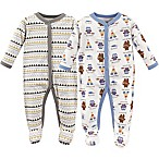 Luvable Friends® Size 0-3M 2-Pack Be Brave Sleep N' Play Footies in White