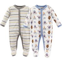 Luvable Friends® Size 6-9M 2-Pack Be Brave Sleep N' Play Footies in White