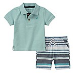 Nautica® Size 6-9M 2-Piece Polo Shirt and Striped Short Set in Mint