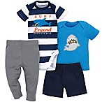Gerber® 4-Piece Newborn Shark Surf Bodysuit, Shirt, Shorts, and Pant Set in Blue