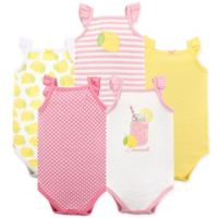 Hudson Baby® Size 12-18M 5-Pack Pink Lemonade Short Sleeve Bodysuits
