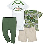 Gerber® 4-Piece Size 0-3M Dinosaur Bodysuit, Shirt, Shorts, and Pant Set in Green