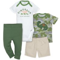 Gerber® 4-Piece Newborn Dinosaur Bodysuit, Shirt, Shorts, and Pant Set in Green