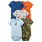 carter's® Preemie 5-Pack Dinosaur Short Sleeve Bodysuits in Blue/Orange