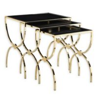 Chic Home Pallie 3-Piece Side Table Set in Gold