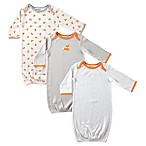 Luvable Friends® Size 0-6M 3-Pack Fox Baby Boy Gowns in Orange