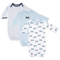 Luvable Friends® Size 0-6M 3-Pack Train Baby Boy Gowns in Blue/Navy