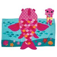 Stephen Joseph Hooded Fish Towel in Pink/Blue