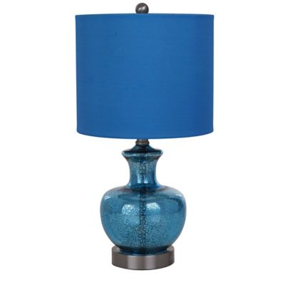 Catalina Mercury Glass Table Lamp In Blue With Linen Shade