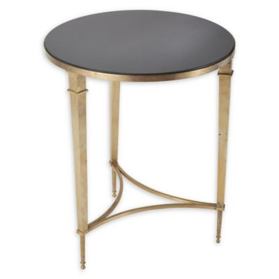 Global Views Round French Square Leg Mirror Accent Table In Brass