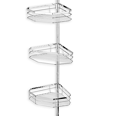 Oversized 3 Tier Pole Shower Caddy in Chromed Steel. Oversized 3 Tier Pole Shower Caddy in Chromed Steel   Bed Bath