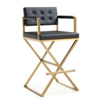 Tov Furniture Faux Leather Upholstered Barstool in Black