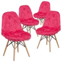 Flash Furniture Faux Fur Upholstered Accent Chairs in Hot Pink (Set of 4)