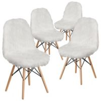 Flash Furniture Faux Fur Upholstered Accent Chairs in White (Set of 4)