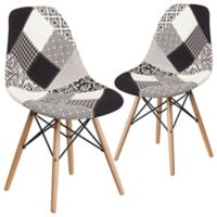 Flash Furniture Upholstered Accent Chairs in Black/white (Set of 2)