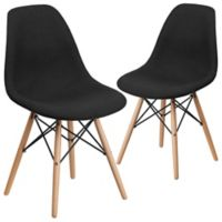 Flash Furniture Upholstered Accent Chairs in Black (Set of 2)