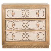 Safavieh Aura 3-Drawer Nightstand in Oak/Beige
