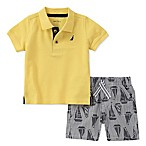 Nautica® Size 3-6M 2-Piece Polo Shirt and Striped Sailboat Short Set in Yellow