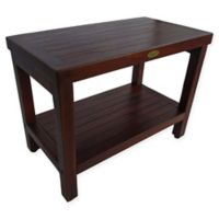 EcoDecors™ Classic 24-Inch Teak Shower Bench with Shelf in Brown