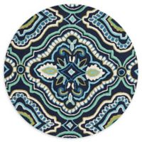 Loloi Rugs Francesca 3' Round Handcrafted Accent Rug ni Navy/Aqua