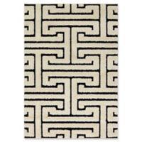 Loloi Rugs Enchant Shag 5'3 x 7'7 Area Rug in White/Black