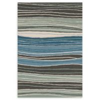 Loloi Rugs Panache Stripe 7'6 Round Handcrafted Area Rug in Grey/Blue