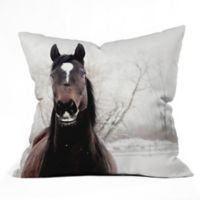 Deny Designs Chelsea Victoria Dark Horse 26-Inch Square Throw Pillow in Brown
