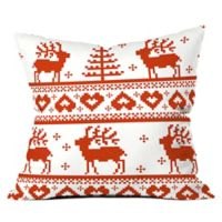 Deny Designs Natt Knitting Red Deer 16-Inch Square Throw Pillow