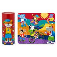 Stephen Joseph Tiger Tin Bank with Puzzle in Orange