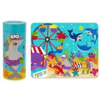 Stephen Joseph Sea Carnival Tin Bank with Puzzle in Aqua