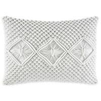 Nine Palms Macrame Oblong Throw Pillow in White