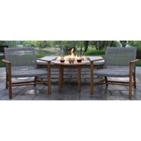 Outdoor Interiors 3-Piece Lounge Chair and Accent Table Patio Conversation Set in Teak/Grey
