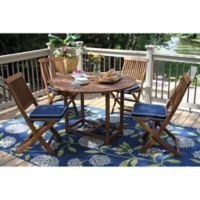 Outdoor Interiors Eucalyptus 5-Piece Round Folding Dining Set in Brown/Navy
