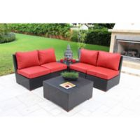 Bellini Home and Gardens Bali 6-Piece Outdoor Sofa Set in Black/Red