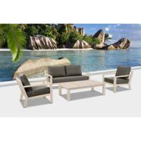 Bellini Home and Gardens Manchester Crema 4-Piece Outdoor Conversation Set in Grey