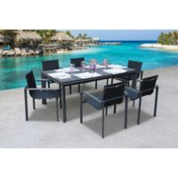 Bellini Home and Gardens Diagonal 7-Piece Outdoor Dining Set in Black
