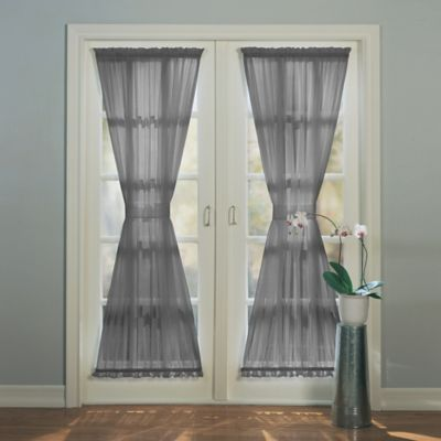 Beau Emily 72 Inch Rod Pocket Sheer Door Panel In Charcoal