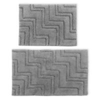 "Castlehill Zigzag 2-Piece 20"" x 30"" and 21"" x 34"" Bath Mat Set in Silver"