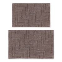 "Castlehill Zigzag 2-Piece 20"" x 30"" and 21"" x 34"" Bath Mat Set in Stone"