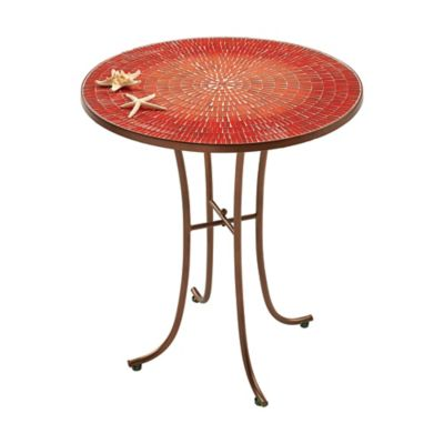 Ombre Mosaic Small All Weather Table In Red With Metal Tube Frame