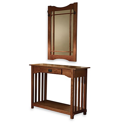 Powell Mission Oak Console and Mirror Set