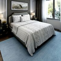 Brielle Cross-Stitched Twin Quilt Set in Silver