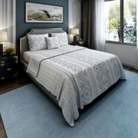Brielle Cross-Stitched King Quilt Set in Teal